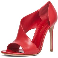 Gianvito Rossi Leather Heel in Red (€245) ❤ liked on Polyvore featuring shoes, sandals, heels, red, high heel sandals, red sandals, red heeled sandals, red peep toe sandals and cutout sandals