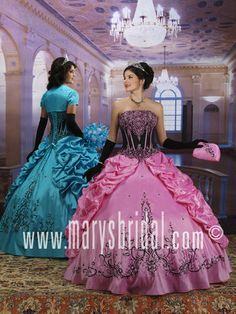 Karelina Princess by Mary's Bridal 4Q532 (color in stock: Turquoise w/ Black - gown on left) #quinceaneradress #sweetsixteendress #quinceanera #dresses #xv