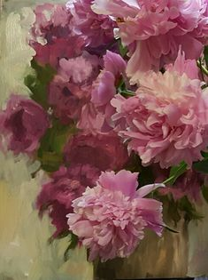 Pink Peonies with painting by Jeannie Dolan