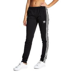 adidas Originals Supergirl Track Pants ($75) ❤ liked on Polyvore featuring activewear, activewear pants, adidas originals and track pants