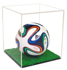 Protect your collectible mini soccer ball in a beautiful, high-quality, Clear Display Case with Turf Bottom. Acrylic Plastic, Clear Acrylic, Display Boxes, Display Case, Acrylic Display Box, Color Calibration, Soccer Ball, Colorful Backgrounds, Miniatures