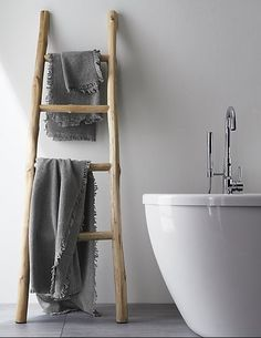 Teak Ladder at Crate and Barrel Canada. Discover unique furniture and decor from across the globe to create a look you love. Crate And Barrel, Toilet Storage, Bathroom Storage, Ladder Towel Racks, Grey Bath Towels, Bathroom Ladder, Bathroom Essentials, Simple Bathroom, Master Bathroom