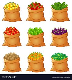 Set of fresh vegetables in sack Royalty Free Vector Image Paper Doll House, Paper Dolls, Kawaii Drawings, Cute Drawings, Sushi Set, Funny Iphone Wallpaper, Seed Germination, Different Fruits, Farm Party