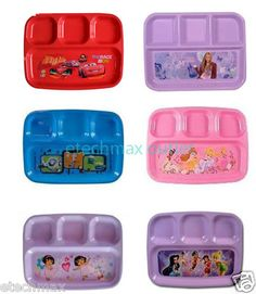 Disney characters 4 section plate Mickey Minnie Dora Spiderman Cars princess toy   eBay