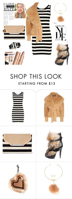 """""""NUDE FUR AND STRIPE AFAIR"""" by agnesmakoni ❤ liked on Polyvore featuring Balmain, Stella & Dot, Christian Louboutin, STELLA McCARTNEY and Juicy Couture"""