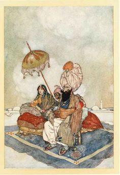 Edmund Dulac Orientalism Art Nouveau India old color print lot x 10 images Arthur Rackham, William Blake, Art Nouveau, Harry Clarke, Edmund Dulac, Arabian Nights, Golden Age, Illustration Art, Book Illustrations