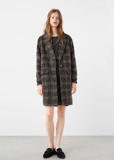 Abrigo cuadros lana | MANGO
