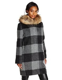Woolrich John Rich & Bros. Women's All Good Plaid Wool Coat, Grey Black Buffalo - http://www.womansindex.com/woolrich-john-rich-bros-womens-all-good-plaid-wool-coat-grey-black-buffalo/