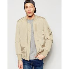 ASOS Bomber With MA1 Pocket In Stone ($72) ❤ liked on Polyvore featuring men's fashion, men's clothing, men's outerwear, men's jackets, stone, mens tall jackets, mens four pocket jacket, mens bomber jacket, mens fitted leather jacket and asos mens jackets