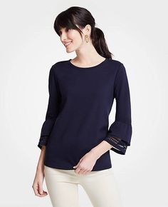Shop Ann Taylor for effortless style and everyday elegance. Our Petite Ponte Flare Sleeve Lace Trim Top is the perfect piece to add to your closet. Fall Photos, Lace Trim, Cute Outfits, Turtle Neck, Elegant, Ann Taylor, Sleeves, Flare, Sweaters