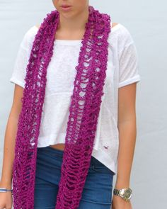 Hey, I found this really awesome Etsy listing at http://www.etsy.com/listing/156618723/scarf-long-crochet-fuschia-pink
