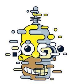 Homer Simpson & Bender, Futurama only one good eye? Simpsons Drawings, Simpsons Art, Homer Simpson, Futurama, Rick E, Dope Art, Cartoon Art, Cool Cartoons, Phone Backgrounds