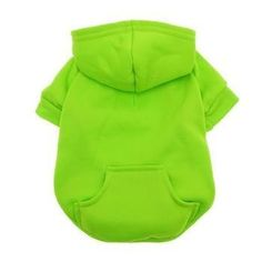 Barking Basics Dog Hoodie - Green. Keep your pet warm and comfy in the Barking Basics Dog Hoodie in Green!  Solid color with kangaroo pocket Great for mix and match 65% Polyester, 35% Cotton  Important Sizing Note: The following measurements are the dimensions of the actual product, not of the pet they fit. After measuring your pet, make sure all measurements fit within the following dimensions (with a little room to spare in the chest and neck).  X-Small Back Length:...