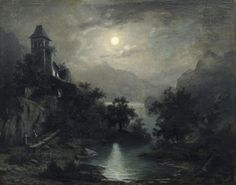 """Moon night in the mountains. Probably around 1850. """"K G Carus"""""""