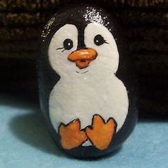 Hand Painted Penguin Rock, the Perfect Pebble, Pebble Art Stone, Painted Stone - Crafts ideas 🤔 Pebble Painting, Pebble Art, Stone Painting, Pebble Stone, Painting Art, Shell Painting, Painting Stencils, Garden Painting, Painting Lessons