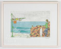 Dawn Patrol: Skater Girl watercolour and etching limited edition print by MermaidsCoin