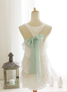 not the classic blouse,,but sooo pretty  SEASIDE AURA - Sleeveless Snow White Blouse with Mint Green Contrast Chiffon Bow Accent & Tiered Flounce Detail
