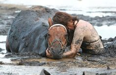 just saw this on FB a brave woman who was out riding and her horse got mired in the mud with the tide coming in and she stayed and held her horses head above water until it could be rescued.  AWESOME PHOTO!