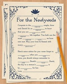 Have your guests fill out mad libs in your guestbook for some great (and surely some hilarious) advice.