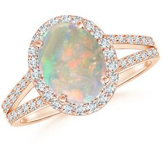 Split Shank Vintage Opal Ring with Diamond Halo ($2,440) ❤ liked on Polyvore featuring jewelry, rings, 14 karat gold ring, diamond accent ring, vintage jewelry, opal rings and vintage opal jewelry