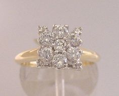 Vintage Diamond Engagement Ring 7 Diamond Cluster Princess Mount 14kt 2-Tone Gold 14k Gold and 14kt White Gold by americanjewelryco, $470.00