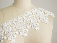 Large White Floral Venice Lace  Victorian Orchidia by CraftCabaret