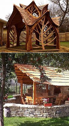 Do-It-Yourself Woodwork Projects Garden Art, Garden Design, House Design, Outdoor Spaces, Outdoor Living, Wooden Gazebo, Driftwood Furniture, Construction Design, Wood Plans