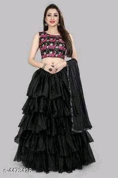 New Attractive Taffeta Silk Women's Lehengas & Cholis  Topwear Fabric: Taffeta Silk Bottomwear Fabric: Soft Net Inner: Silk  Dupatta: Net Set type: Lehnga And Choli With Dupatta Type : Ruffle Work: Printed Sizes:  Semi Stitched ( Blouse Size: 0.80 Mtr, Lehenga Waist Size: Up to 36 in to 44 in ( Free Size ) , Lehenga Length Size: 42 in, Dupatta Size: 2.20 mtr) Lehenga Style, Lehenga Choli Online, Silk Lehenga, Silk Dupatta, Lehenga Online Shopping, Black Lehenga, Types Of Fashion Styles, Design Net, Raksha Bandhan