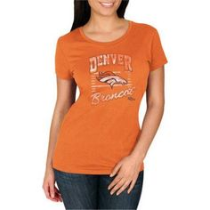 NFL Denver Broncos Women's Deep Crew Neck Tee, Size: Medium, Orange