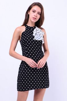 Cut-In Polkadot Dress (Black) S$ 38.00
