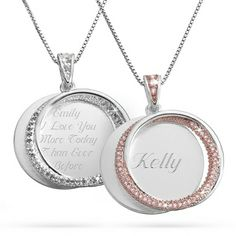 Personalized Interlocking Eternity CZ Swing Necklaces With Free Keepsake Box, Add Your Message