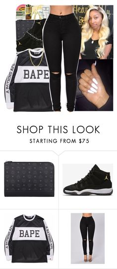"""""""bape ™"""" by tharealjassy ❤ liked on Polyvore featuring M.A.C, MCM, NIKE, A BATHING APE and Pori"""