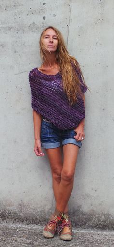 purple poncho / loose knit poncho / READY TO SHIP by ileaiye, $60.00