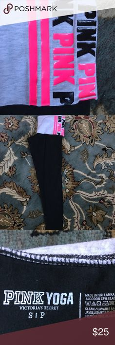 HTF vs pink  fold over leggings HTF vs pink multi color lettering fold over leggings  Size small worn 2x in perfect condition PINK Victoria's Secret Pants Leggings