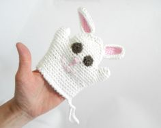 Crochet Easter bunny bath mitt, handmade Easter bunny, modern crochet toy, crocheted bath mitt, handmade puppet for Easter, READY TO SHIP