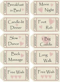 DIY Love Coupons - to print and assemble into matchbook-style booklet