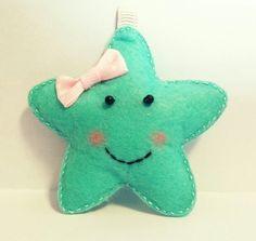 mint yeşili yıldız keçe anahtarlık - mint green felt star key chain - bebek şekeri -baby