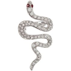 Kenneth Jay Lane Crystal Snake Ring ($170) ❤ liked on Polyvore