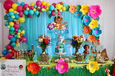 Who doesn't LOVE Moana? 😍😍 🌺 I had the wonderful opportunity to work with on her Moana themed party incorporating… Moana Birthday Decorations, Moana Birthday Party Theme, Moana Themed Party, 2nd Birthday Parties, Princess Birthday, Hawaiian Birthday, Flamingo Birthday, Moana Party Invitations, Festa Moana Baby