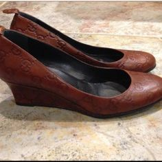Gucci leather wedge shoe Gucci leather wedge shoe, size 6 can work on 6.5 Gucci Shoes Wedges
