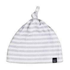 Gray Stripe Knotted Hat | VONBON | Organic Cotton Goods | #baby #babystyle #babyhat