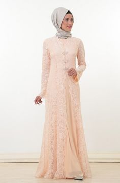 Nurla Dantel Detay Abiye Elbise-Somon 1164-73