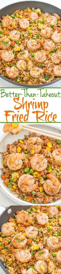 Easy Better-Than-Takeout Shrimp Fried Rice - One-skillet, ready in 20 minutes, and you'll never takeout again!! Homemade tastes WAY BETTER!! Tons more flavor, not greasy, and loaded with tender shrimp!! #chinesefoodrecipes
