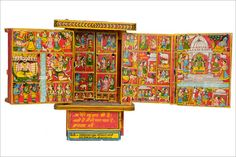 The Kaavad, a portable, painted, wooden shrine, is made by the Kaavad makers (Basayati Suthars) of Bassi, Chittor, for the storytellers (Kaavadiya Bhats or Ravs) of Marwar. The storytellers unfold the multiple panels of the Kaavad as they recite stories and genealogies of their patrons (jajmans) spread across Rajasthan and adjoining states. http://www.dsource.in/gallery/gallery-0557/index.html