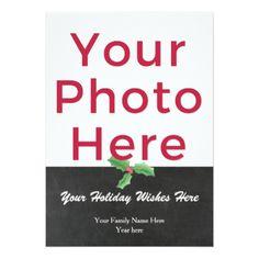 Customized DIY Photo Watercolor Holly Script Card - invitations custom unique diy personalize occasions