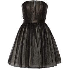 Alice + Olivia Kylie leather and tulle mini dress ($399) ❤ liked on Polyvore featuring dresses, black, corset style dress, short tulle dress, short dresses, leather cocktail dress and short black cocktail dresses