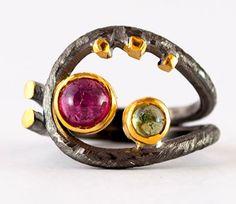 Coil ring watermelon pink tourmaline and peridot stone artisan statement ring