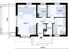 case mici sub 100 de metri patrati Small houses under 100 square meters 3 2 Bedroom House Plans, Duplex House Plans, House Floor Plans, Small Floor Plans, Kitchen Floor Plans, Euro, Square Meter, Design Case, Home Interior Design