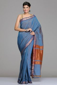 DUAL-SHADED BLUE KANCHI COTTON SAREE WITH SMALL GOLD ZARI MOTIFS AND GOLD ZARI BORDER WITH FLORAL MOTIFS