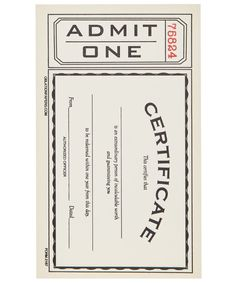Certificate Note Cards